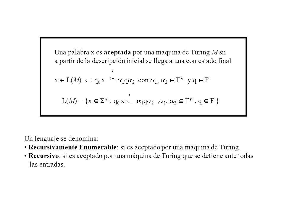 Una palabra x es aceptada por una máquina de Turing M sii a partir de la descripción inicial se llega a una con estado final x L(M) q 0 x 1 q 2 con 1,