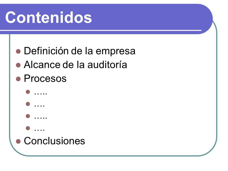 Contenidos Definición de la empresa Alcance de la auditoría Procesos ….. …. ….. …. Conclusiones