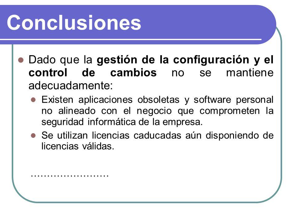 Conclusiones Dado que la gestión de la configuración y el control de cambios no se mantiene adecuadamente: Existen aplicaciones obsoletas y software p