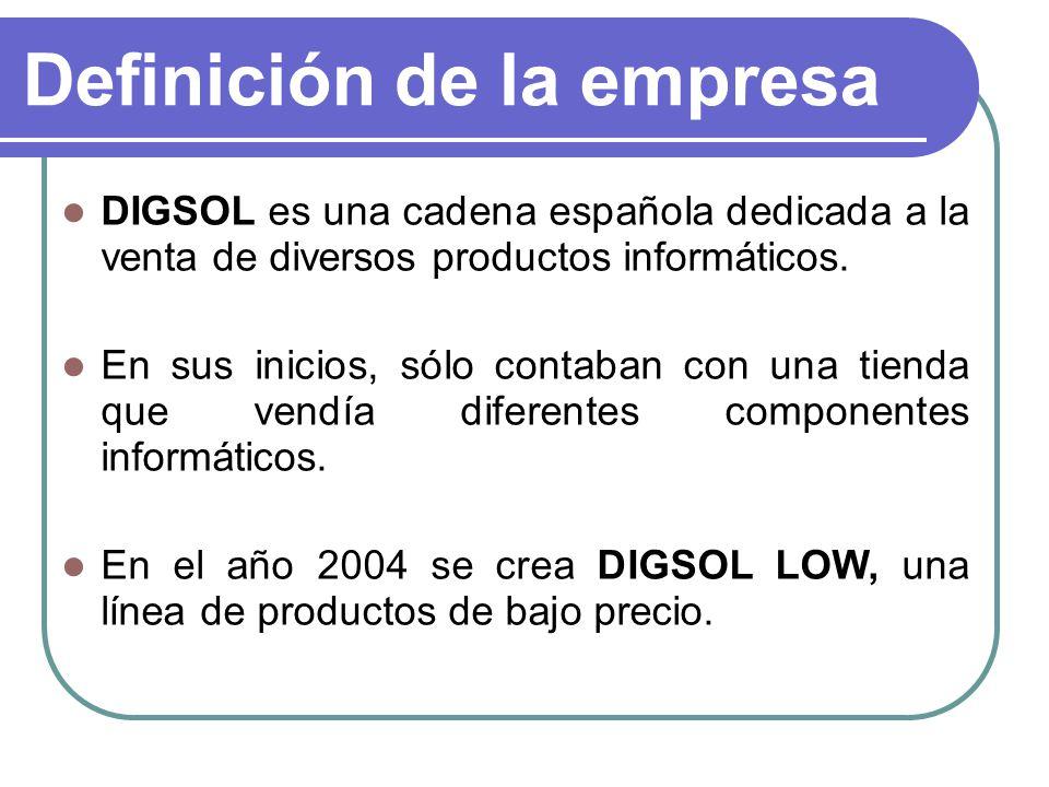 Definición de la empresa DIGSOL es una cadena española dedicada a la venta de diversos productos informáticos. En sus inicios, sólo contaban con una t