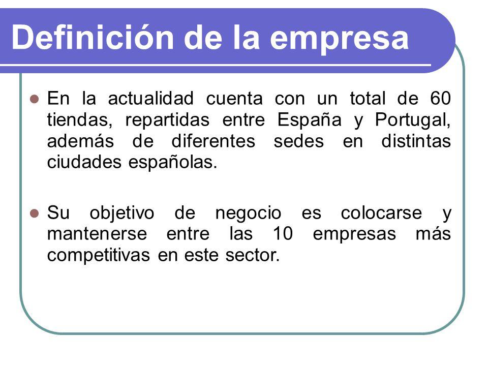 Definición de la empresa En la actualidad cuenta con un total de 60 tiendas, repartidas entre España y Portugal, además de diferentes sedes en distint