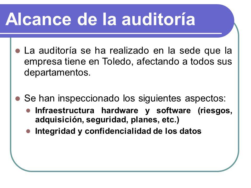 Alcance de la auditoría La auditoría se ha realizado en la sede que la empresa tiene en Toledo, afectando a todos sus departamentos. Se han inspeccion