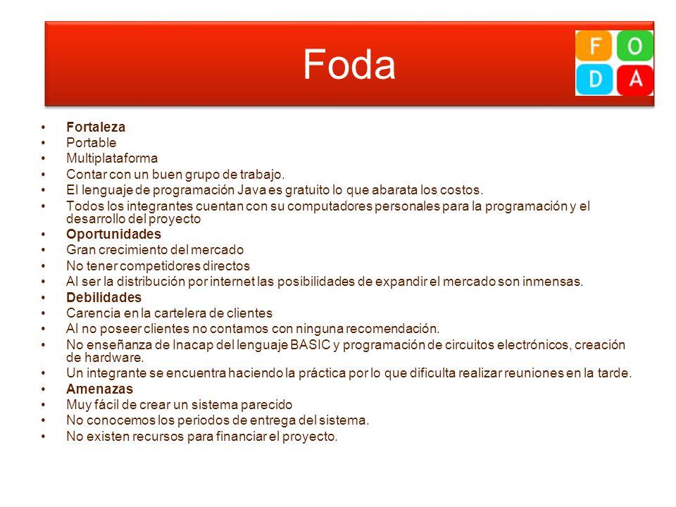 foda Fortaleza Portable Multiplataforma Contar con un buen grupo de trabajo. El lenguaje de programación Java es gratuito lo que abarata los costos. T