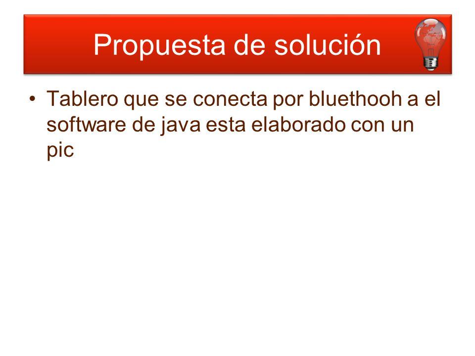 Tablero que se conecta por bluethooh a el software de java esta elaborado con un pic Propuesta de solución