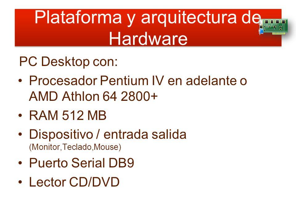 Plataforma y arquitectura de Hardware PC Desktop con: Procesador Pentium IV en adelante o AMD Athlon 64 2800+ RAM 512 MB Dispositivo / entrada salida