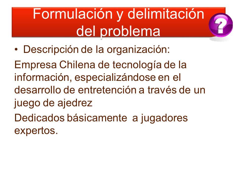 Formulación y delimitación del problema Descripción de la organización: Empresa Chilena de tecnología de la información, especializándose en el desarr