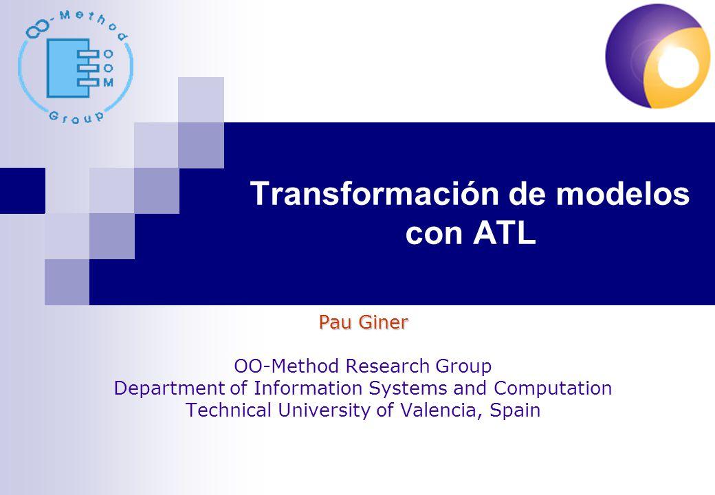 Transformación de modelos con ATL 42/113 Map Define una tabla de mappings clave-valor Definición Map(key_type, value_type) Ej.: Map(Integer, MM!Author) Uso Map{(key,value),…} Ej.: Map{(1,aut1), (2,aut2)}