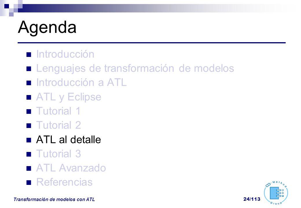 Transformación de modelos con ATL 24/113 Agenda Introducción Lenguajes de transformación de modelos Introducción a ATL ATL y Eclipse Tutorial 1 Tutori