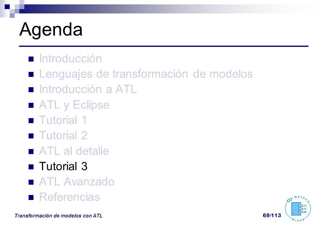 Transformación de modelos con ATL 69/113 Agenda Introducción Lenguajes de transformación de modelos Introducción a ATL ATL y Eclipse Tutorial 1 Tutori