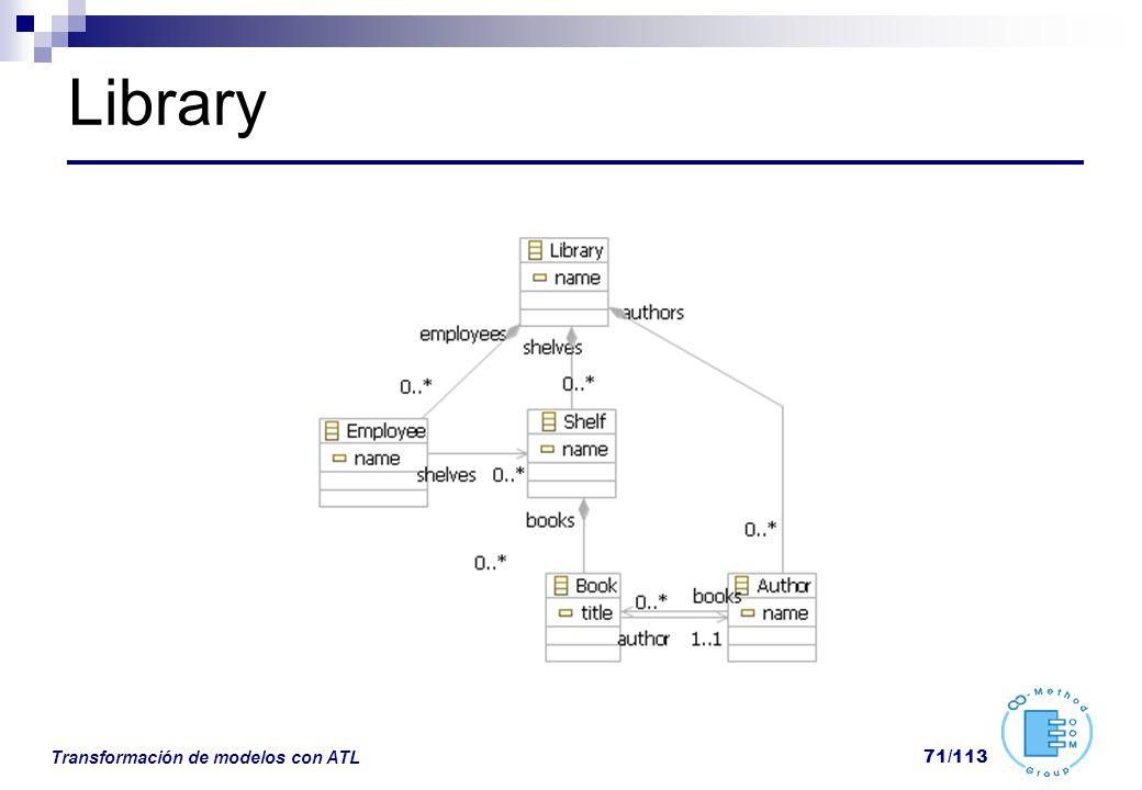 Transformación de modelos con ATL 71/113 Library