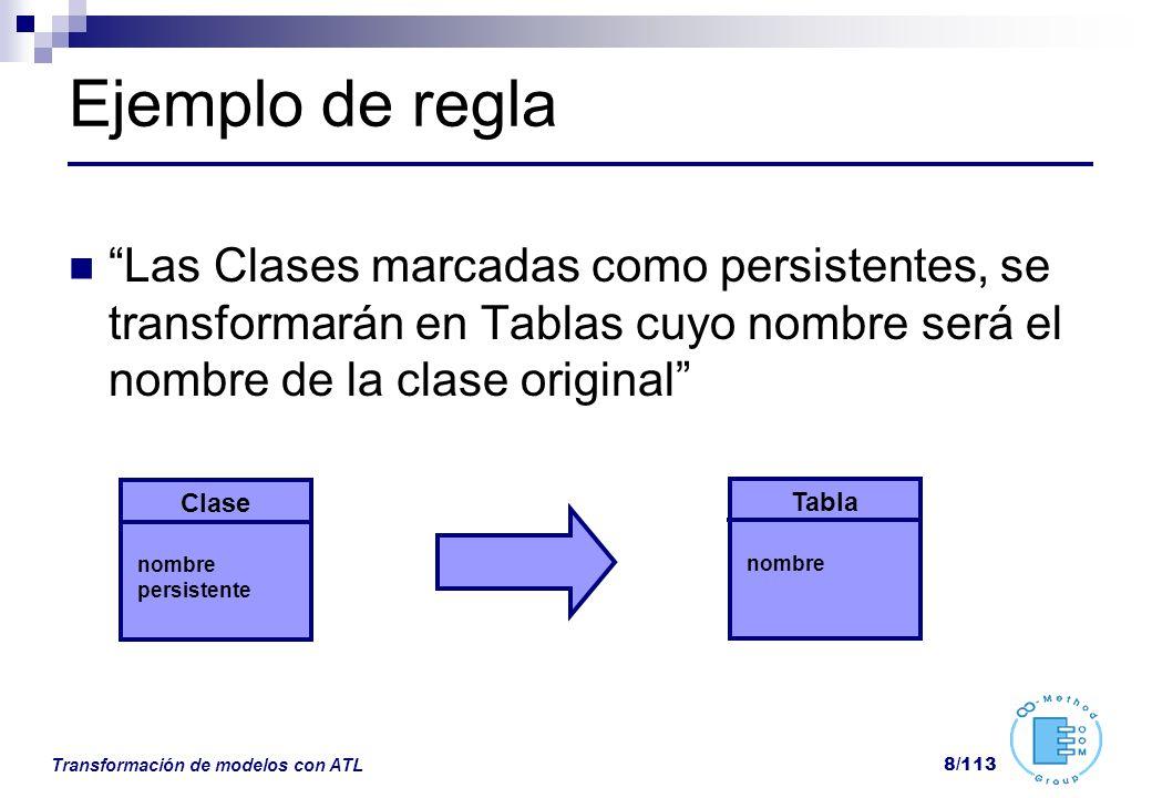 Transformación de modelos con ATL 8/113 Ejemplo de regla Las Clases marcadas como persistentes, se transformarán en Tablas cuyo nombre será el nombre