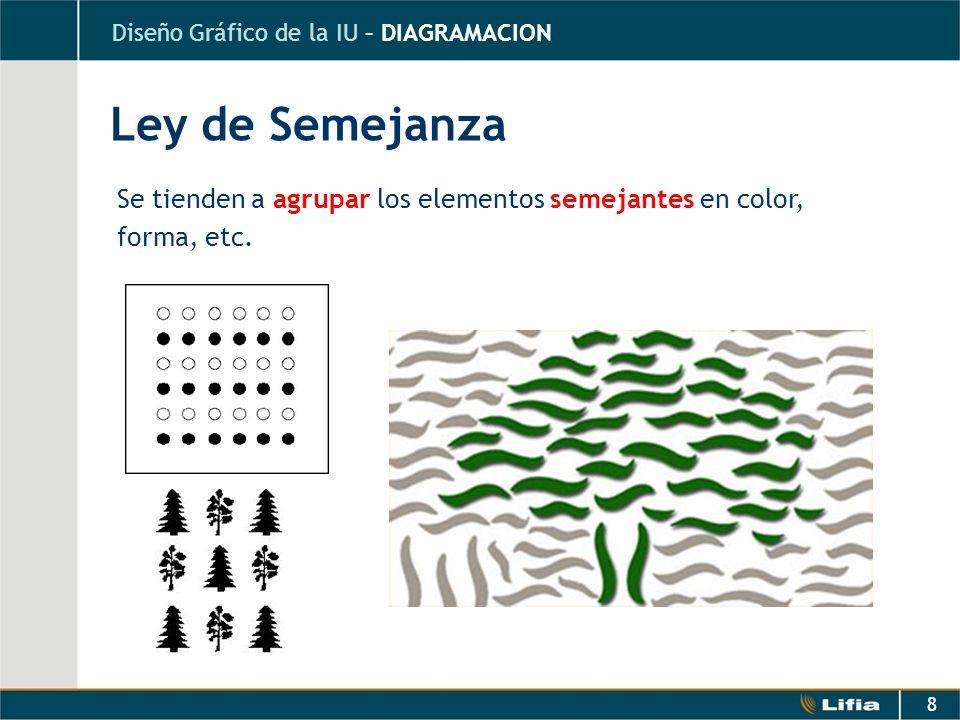 8 Se tienden a agrupar los elementos semejantes en color, forma, etc. Ley de Semejanza Diseño Gráfico de la IU – DIAGRAMACION