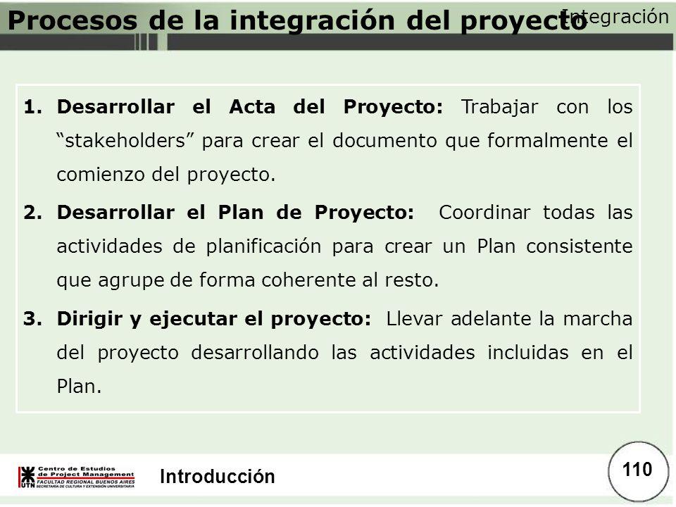 Introducción Procesos de la integración del proyecto 1.Desarrollar el Acta del Proyecto: Trabajar con los stakeholders para crear el documento que for