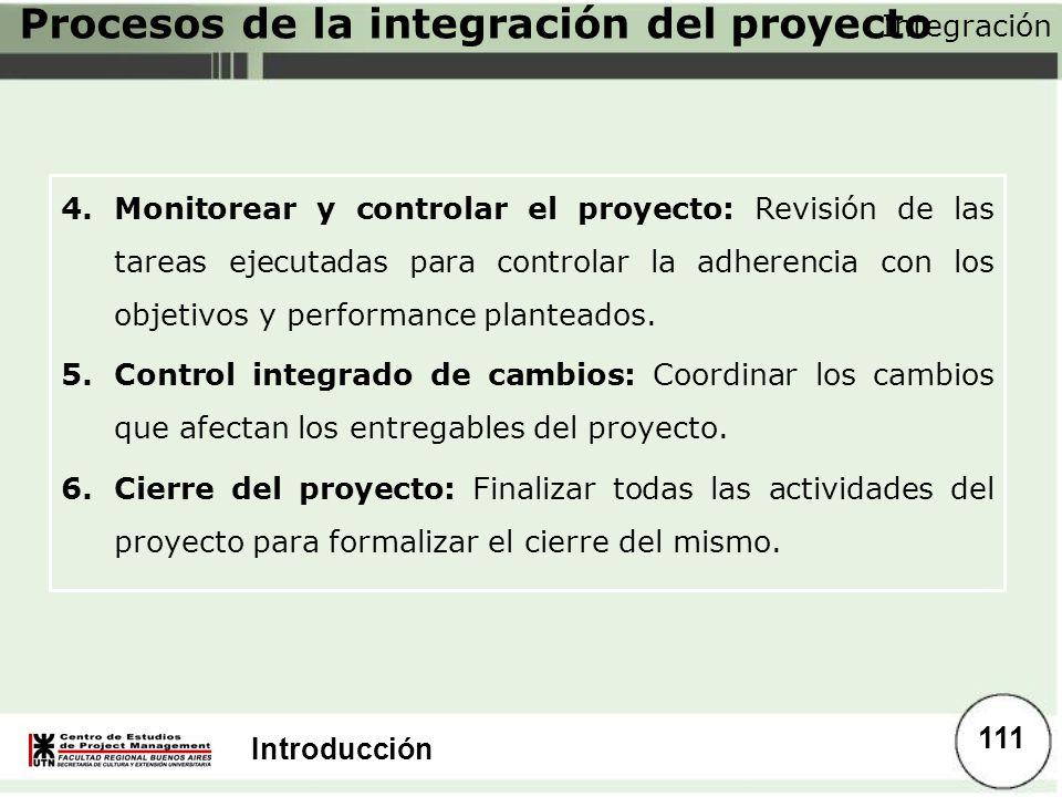 Introducción 4.Monitorear y controlar el proyecto: Revisión de las tareas ejecutadas para controlar la adherencia con los objetivos y performance plan
