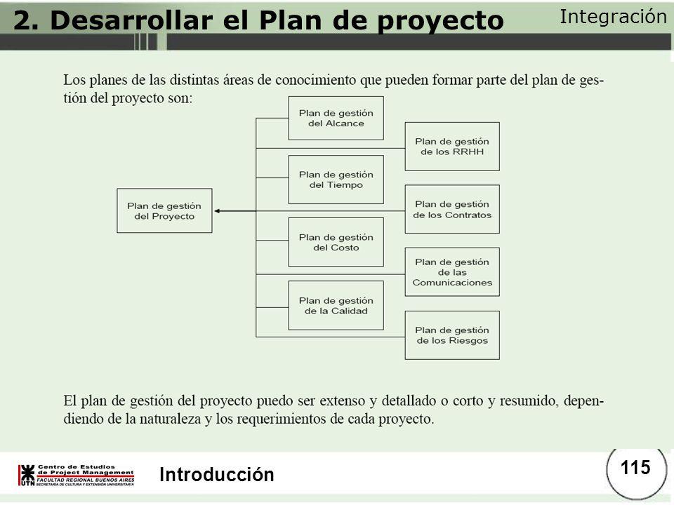 Introducción 2. Desarrollar el Plan de proyecto Integración 115
