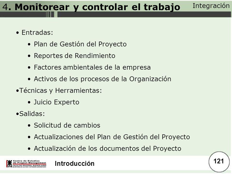 Introducción Integración 121 Entradas: Plan de Gestión del Proyecto Reportes de Rendimiento Factores ambientales de la empresa Activos de los procesos
