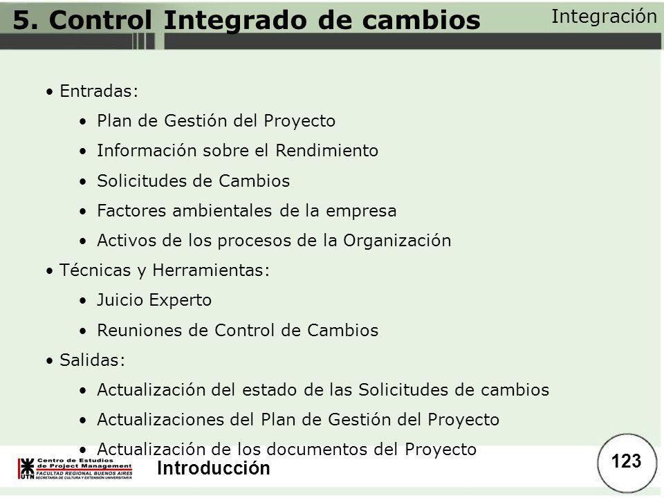 Introducción Integración 123 Entradas: Plan de Gestión del Proyecto Información sobre el Rendimiento Solicitudes de Cambios Factores ambientales de la