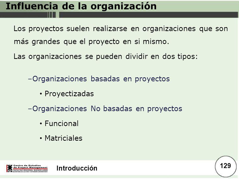 Introducción Influencia de la organización Los proyectos suelen realizarse en organizaciones que son más grandes que el proyecto en si mismo. Las orga
