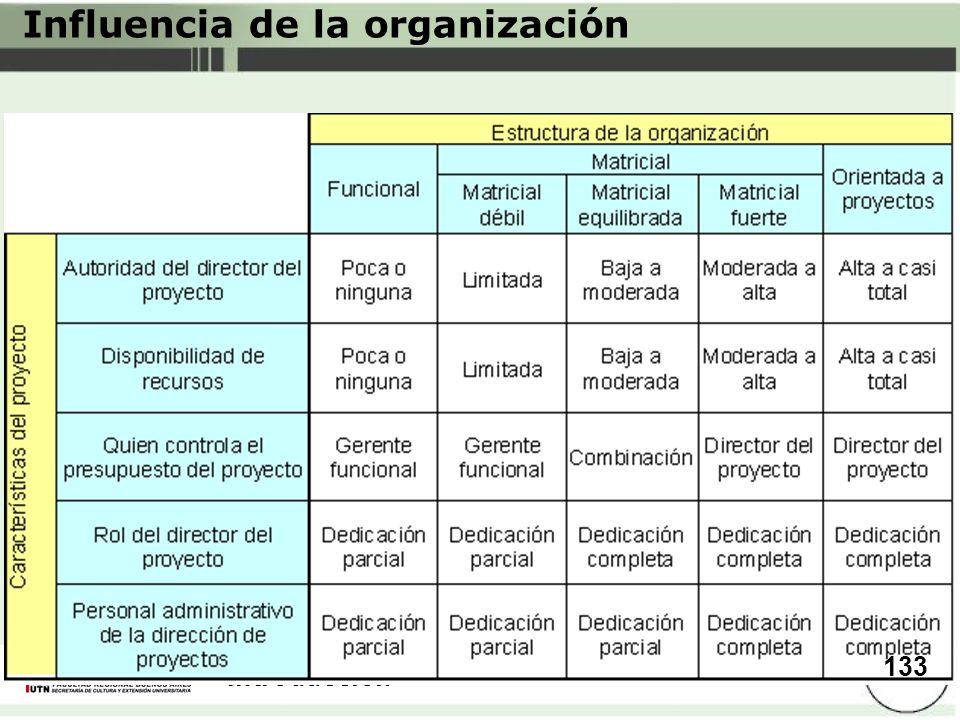 Introducción Influencia de la organización 133
