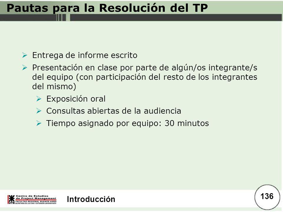 Introducción Pautas para la Resolución del TP Entrega de informe escrito Presentación en clase por parte de algún/os integrante/s del equipo (con part