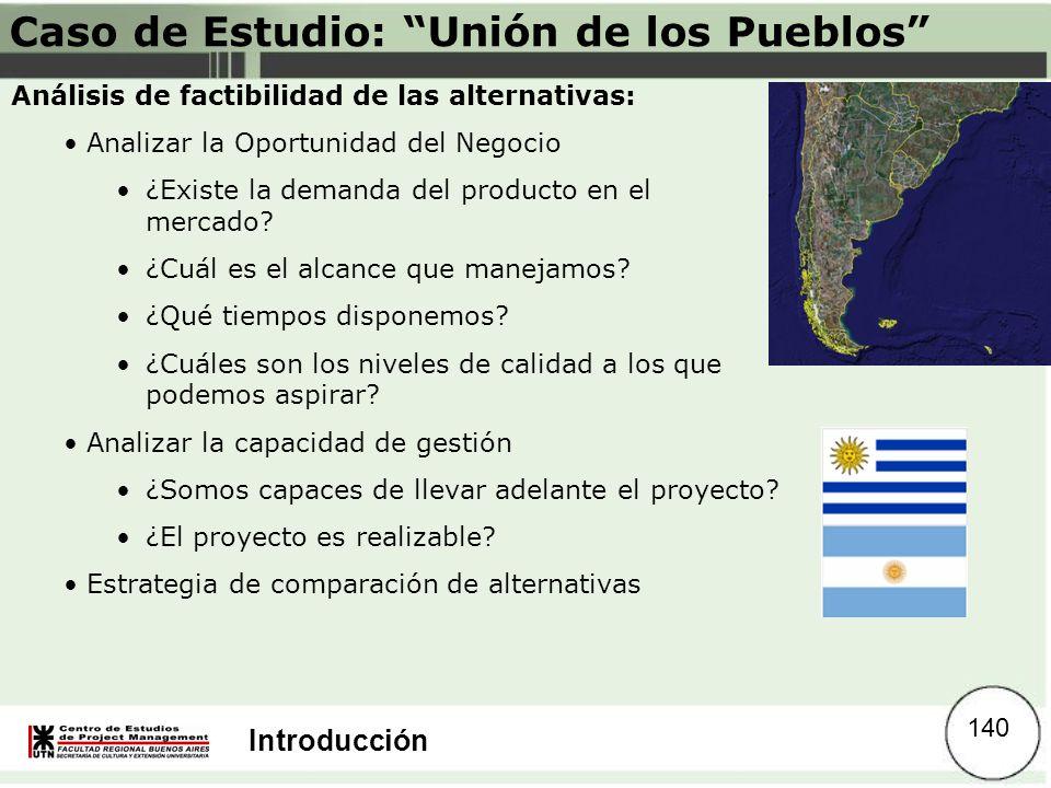Introducción Caso de Estudio: Unión de los Pueblos Análisis de factibilidad de las alternativas: Analizar la Oportunidad del Negocio ¿Existe la demand