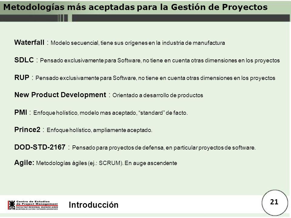 Introducción 21 Metodologías más aceptadas para la Gestión de Proyectos Waterfall : Modelo secuencial, tiene sus orígenes en la industria de manufactu