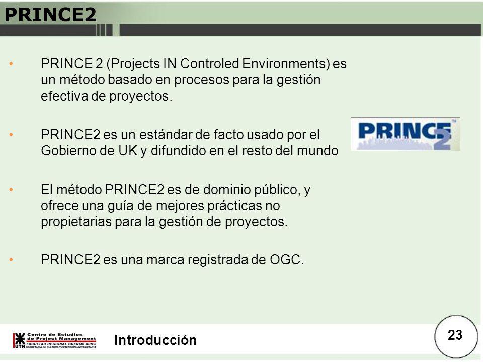 Introducción PRINCE2 PRINCE 2 (Projects IN Controled Environments) es un método basado en procesos para la gestión efectiva de proyectos. PRINCE2 es u