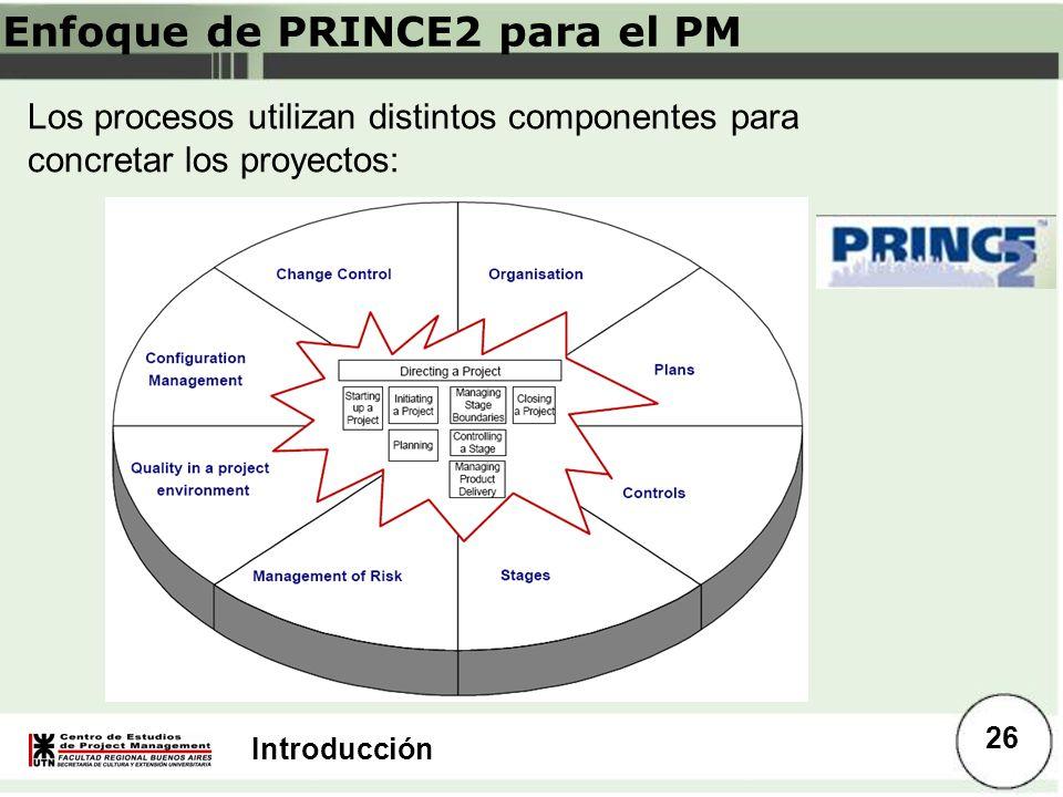 Introducción Enfoque de PRINCE2 para el PM Los procesos utilizan distintos componentes para concretar los proyectos: 26