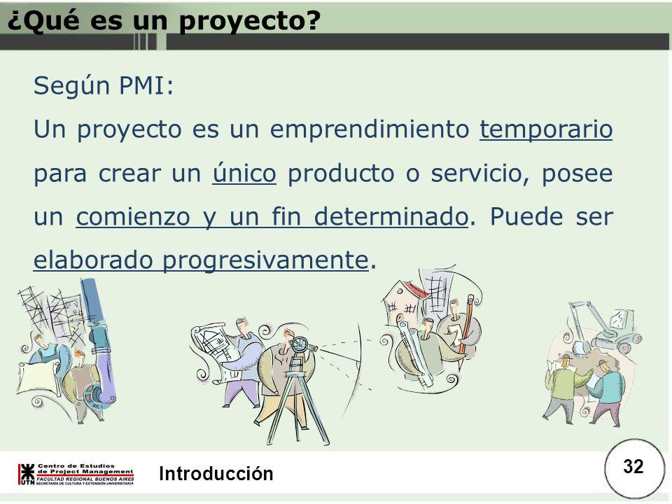 Introducción ¿Qué es un proyecto? Según PMI: Un proyecto es un emprendimiento temporario para crear un único producto o servicio, posee un comienzo y