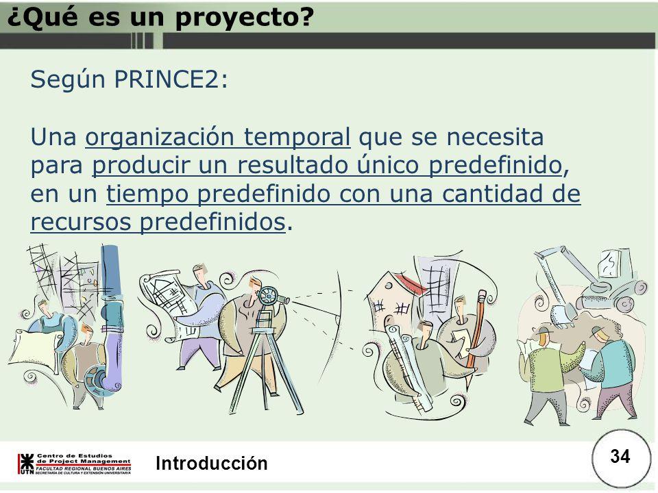 Introducción Según PRINCE2: Una organización temporal que se necesita para producir un resultado único predefinido, en un tiempo predefinido con una c