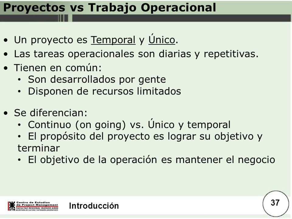 Introducción Proyectos vs Trabajo Operacional Un proyecto es Temporal y Único. Las tareas operacionales son diarias y repetitivas. Tienen en común: So