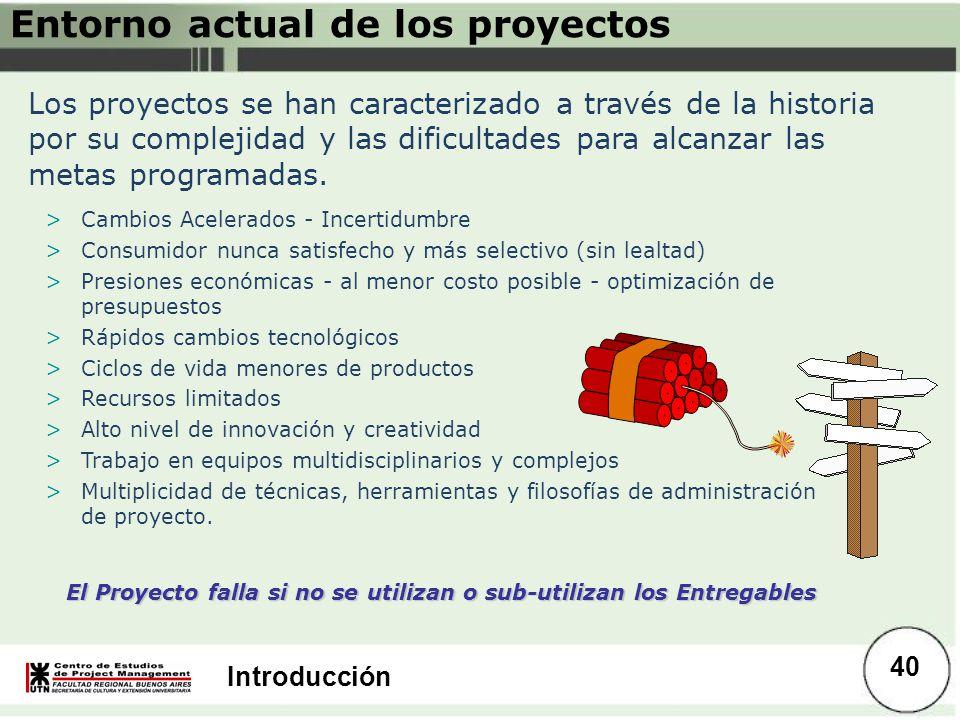 Introducción Entorno actual de los proyectos Los proyectos se han caracterizado a través de la historia por su complejidad y las dificultades para alc