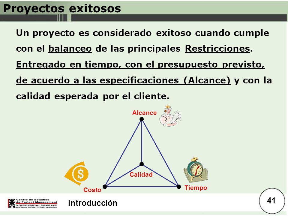 Introducción Proyectos exitosos Un proyecto es considerado exitoso cuando cumple con el balanceo de las principales Restricciones. Entregado en tiempo