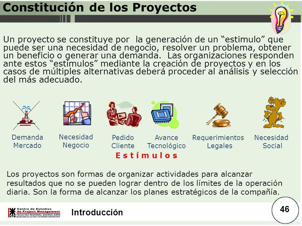 Introducción Constitución de los Proyectos Un proyecto se constituye por la generación de un estimulo que puede ser una necesidad de negocio, resolver