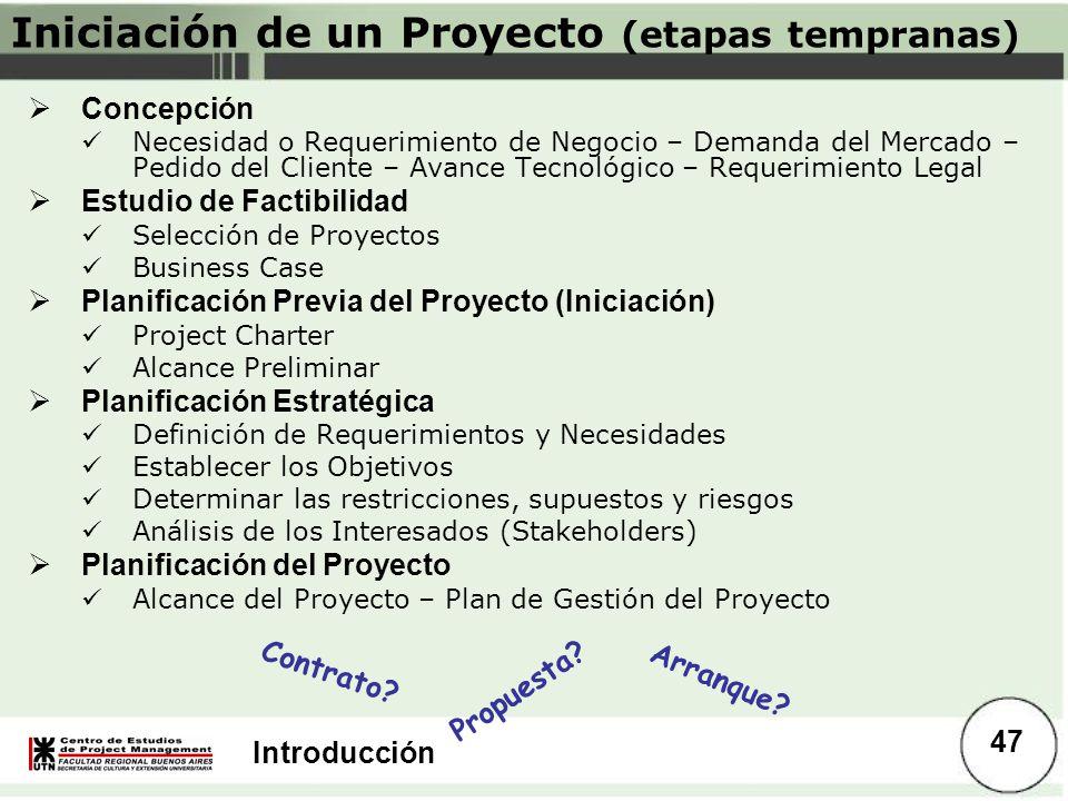 Introducción Iniciación de un Proyecto (etapas tempranas) Concepción Necesidad o Requerimiento de Negocio – Demanda del Mercado – Pedido del Cliente –