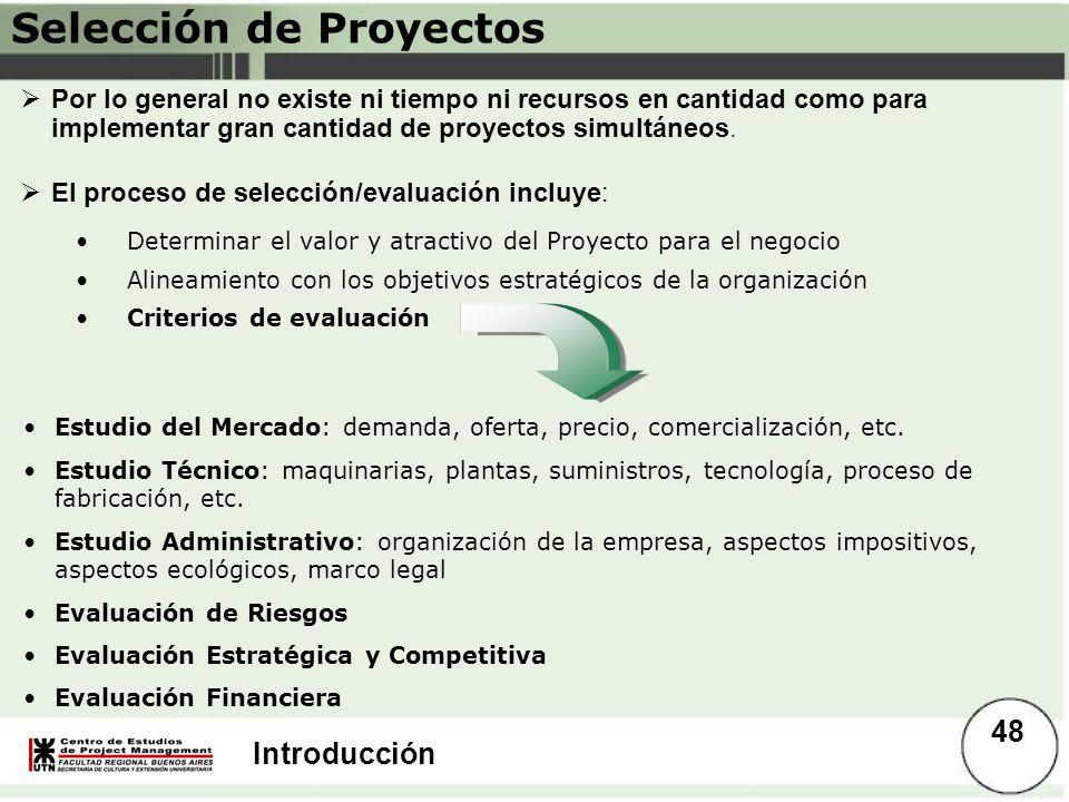 Introducción Por lo general no existe ni tiempo ni recursos en cantidad como para implementar gran cantidad de proyectos simultáneos. El proceso de se