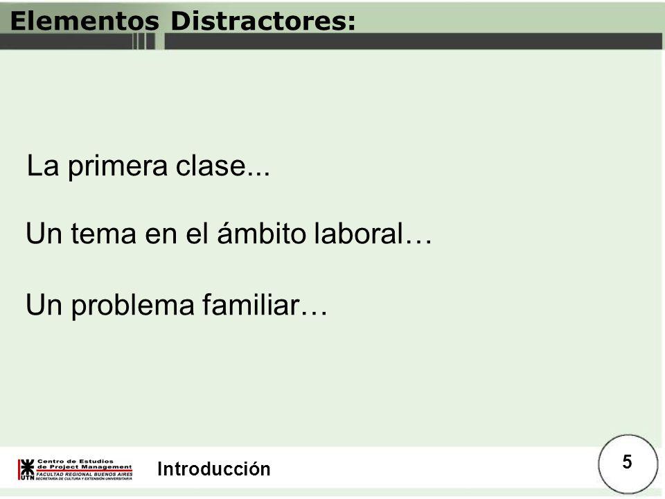 Introducción Elementos Distractores: La primera clase... Un tema en el ámbito laboral… Un problema familiar… 5