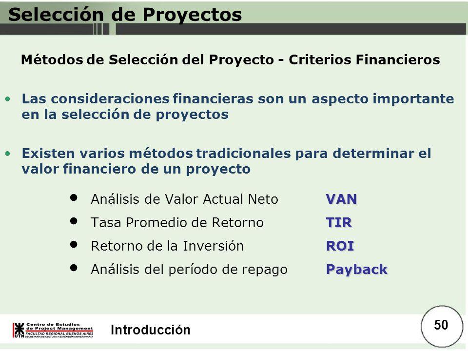 Introducción VAN Análisis de Valor Actual NetoVAN TIR Tasa Promedio de RetornoTIR ROI Retorno de la Inversión ROI Payback Análisis del período de repa