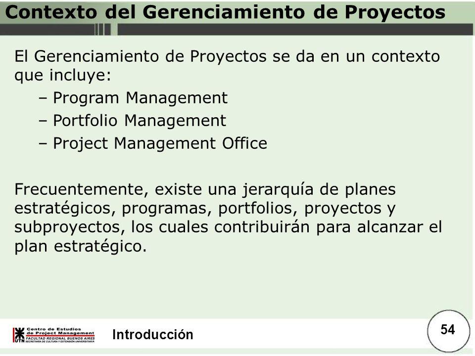 Introducción Contexto del Gerenciamiento de Proyectos El Gerenciamiento de Proyectos se da en un contexto que incluye: –Program Management –Portfolio