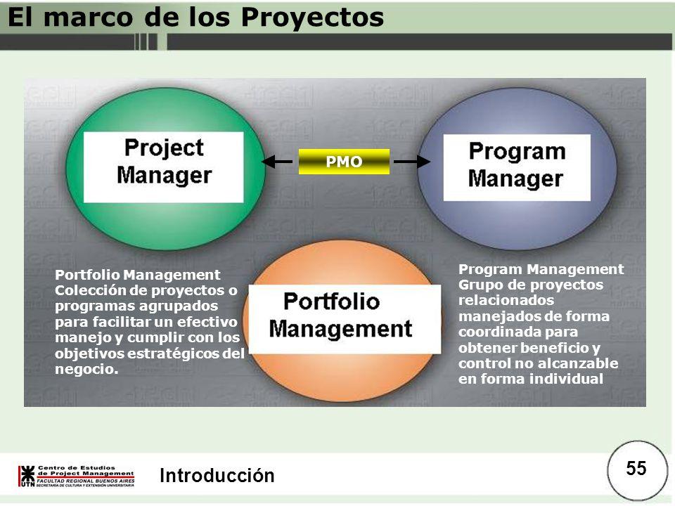 Introducción El marco de los Proyectos PMO Program Management Grupo de proyectos relacionados manejados de forma coordinada para obtener beneficio y c