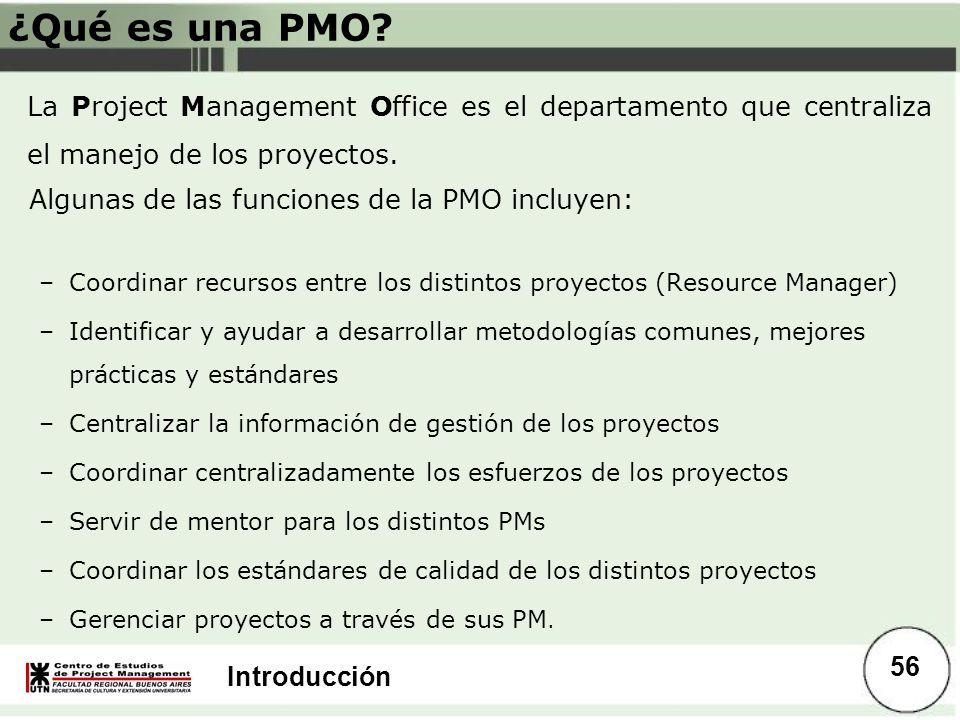 Introducción ¿Qué es una PMO? La Project Management Office es el departamento que centraliza el manejo de los proyectos. Algunas de las funciones de l