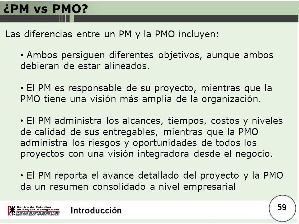 Introducción ¿PM vs PMO? Las diferencias entre un PM y la PMO incluyen: Ambos persiguen diferentes objetivos, aunque ambos debieran de estar alineados