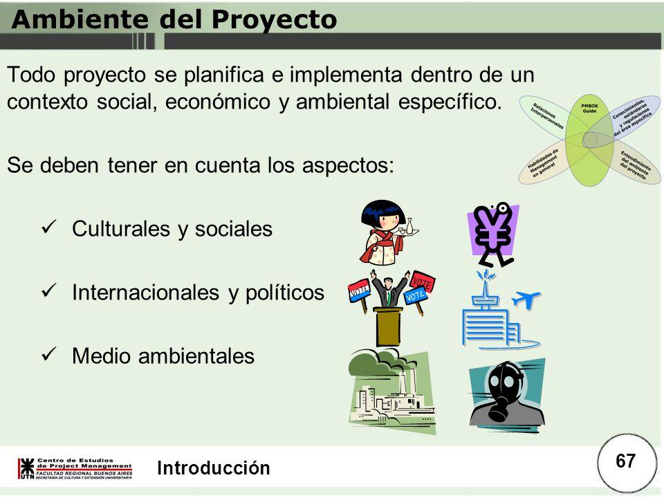 Introducción Ambiente del Proyecto Todo proyecto se planifica e implementa dentro de un contexto social, económico y ambiental específico. Se deben te