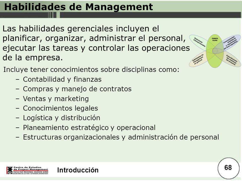 Introducción Habilidades de Management Las habilidades gerenciales incluyen el planificar, organizar, administrar el personal, ejecutar las tareas y c