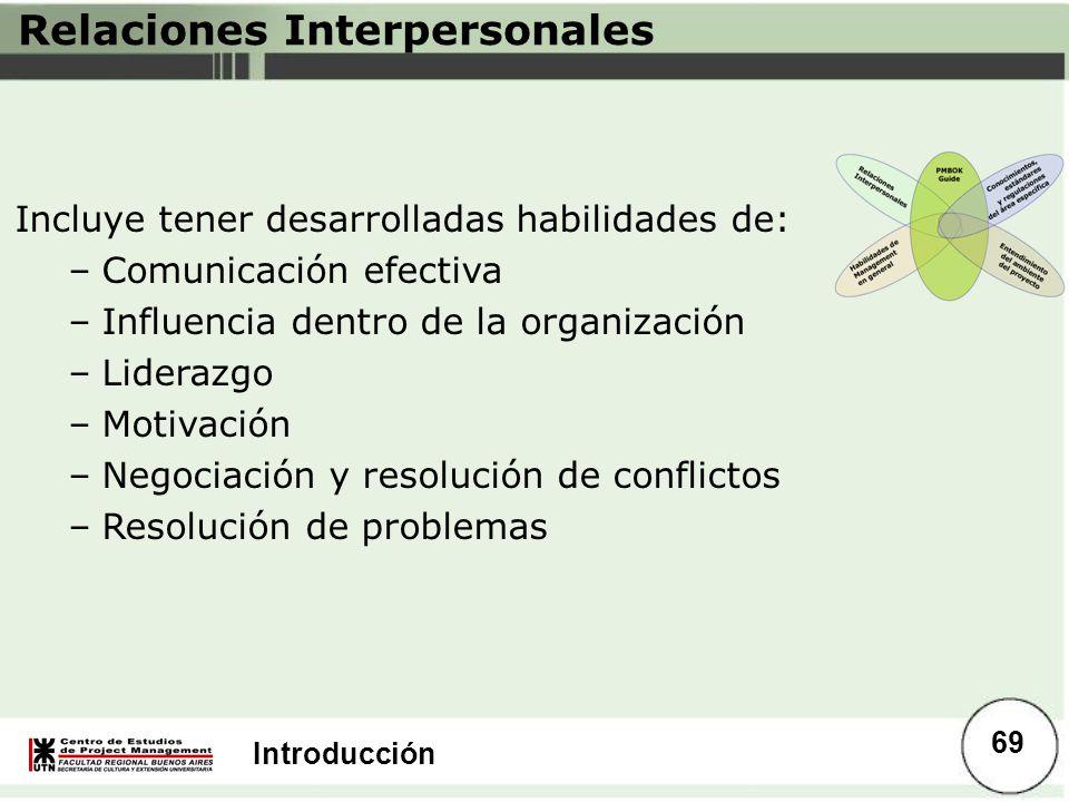 Introducción Relaciones Interpersonales Incluye tener desarrolladas habilidades de: –Comunicación efectiva –Influencia dentro de la organización –Lide