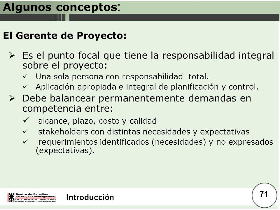 Introducción Algunos conceptos : Es el punto focal que tiene la responsabilidad integral sobre el proyecto: Una sola persona con responsabilidad total