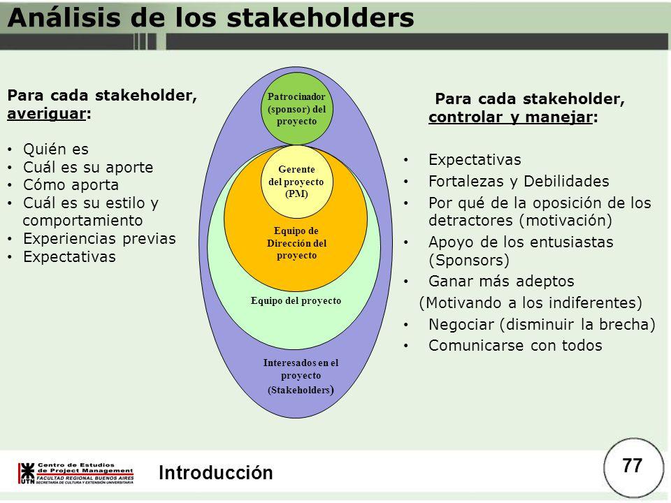 Introducción Análisis de los stakeholders Para cada stakeholder, averiguar: Quién es Cuál es su aporte Cómo aporta Cuál es su estilo y comportamiento