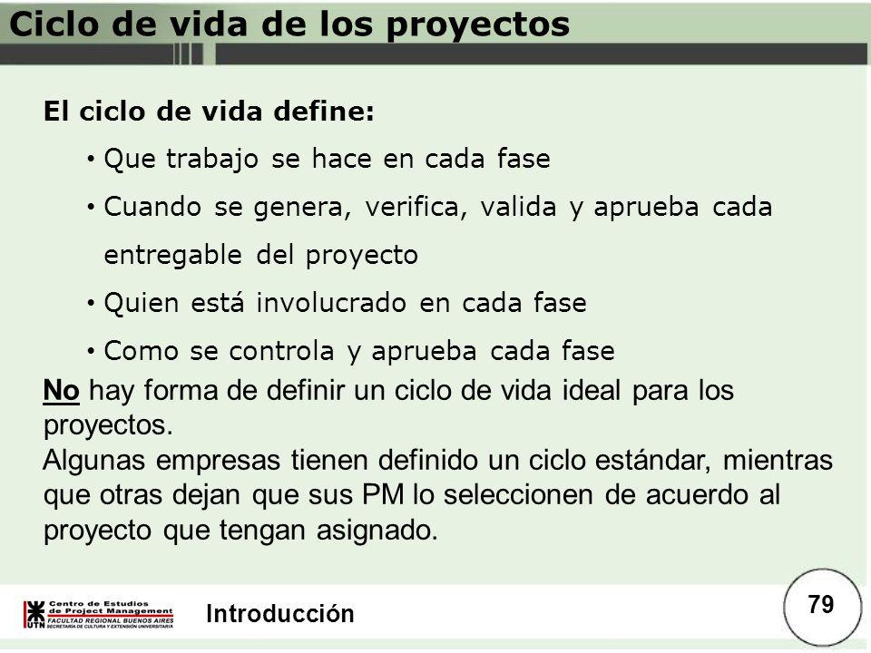 Introducción El ciclo de vida define: Que trabajo se hace en cada fase Cuando se genera, verifica, valida y aprueba cada entregable del proyecto Quien