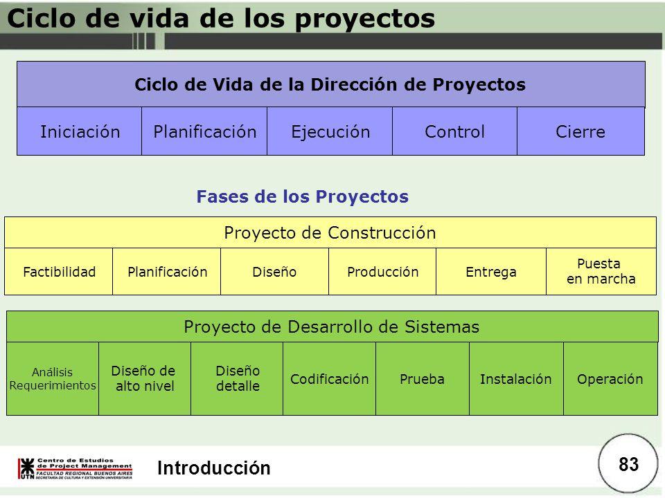 Introducción Ciclo de Vida de la Dirección de Proyectos IniciaciónPlanificaciónEjecuciónControlCierre FactibilidadPlanificaciónDiseñoProducciónEntrega