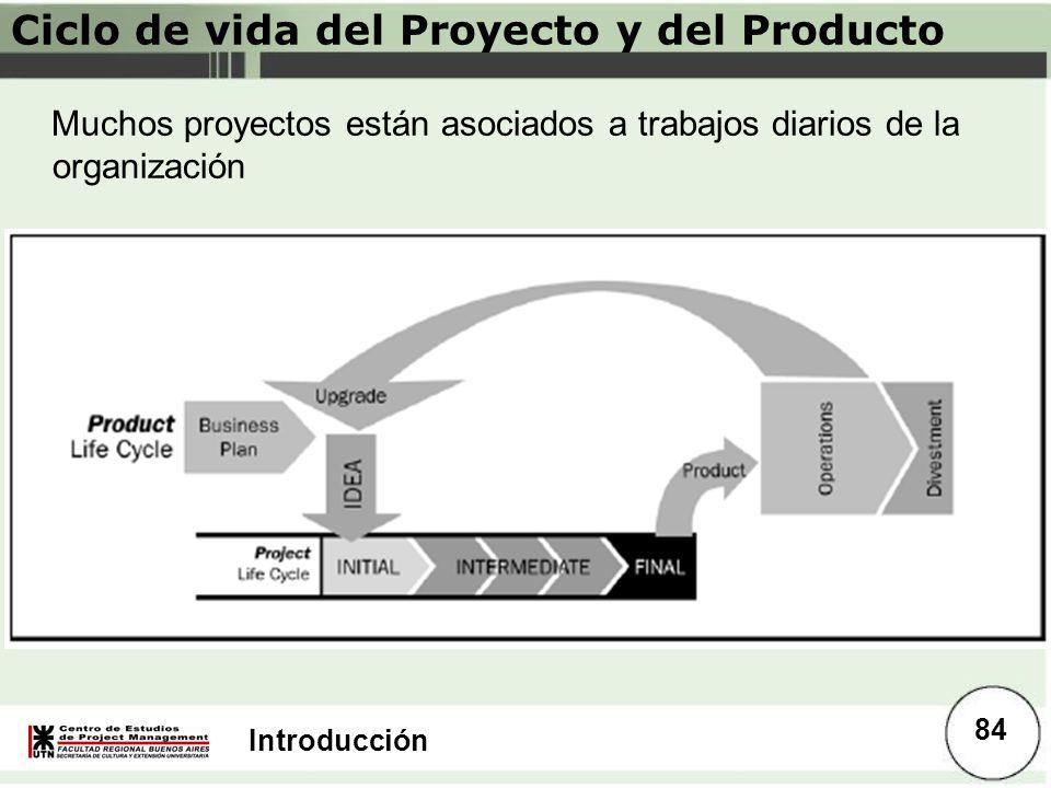 Introducción Ciclo de vida del Proyecto y del Producto Muchos proyectos están asociados a trabajos diarios de la organización 84